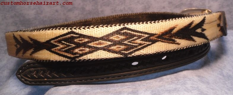 Ladies Hitched Horsehair Belt With Pattern Made Using