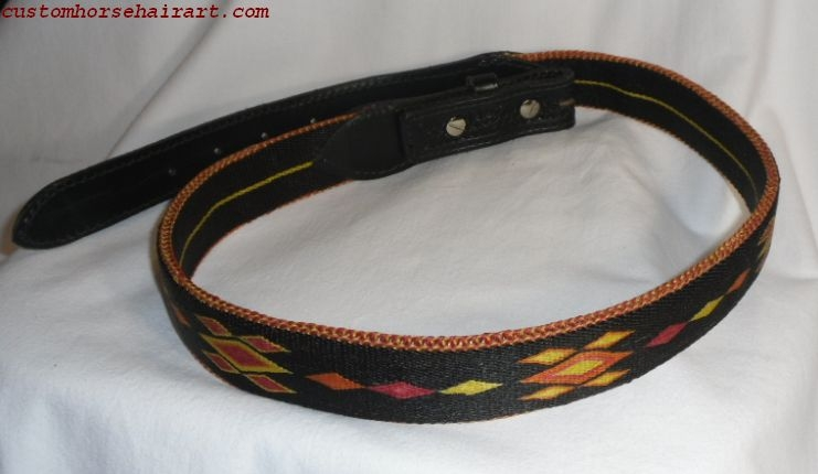 Hitched Horsehair Belt With Stamped Black Leather Billets