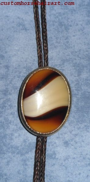 1 Braided Brown Horsehair Bolo Tie With Brown Striped