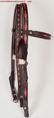 Hitched Horsehair Headstall W/Leather Ends