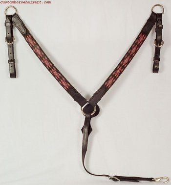 Leather and Hitched Horsehair Breastcollar